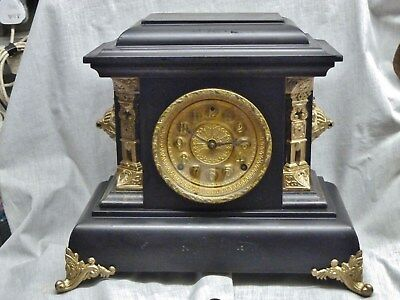 huge faux marble mantel clock i restored e n welch forestville connecticut 8day