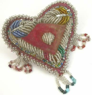 Antique Circa 1905 IROQUOIS Glass Beaded PIN CUSHION Whimsey- Heart Shaped