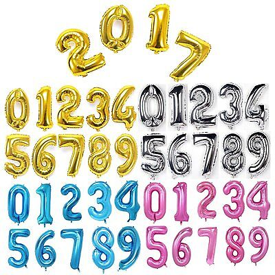 "Gold/Silver 40"" Birthday Wedding Party Decor Foil Letter Number Balloons"