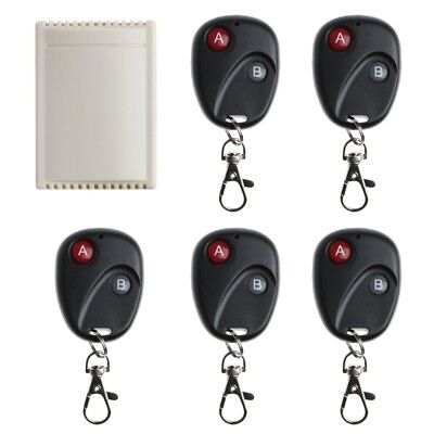 2CH Wireless Remote Control Switch Receiver 5 Transmitters For Garage Door DC12V