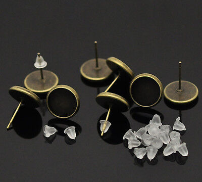 New 15 Pairs Bronze Tone Cabochon Settings Earring Post W/Stoppers 14x12mm