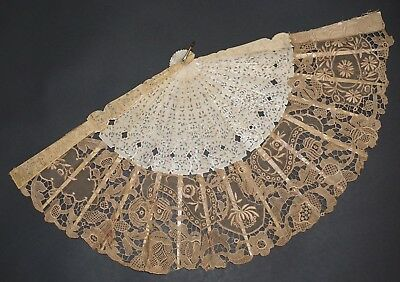 Fine Antique Chinese Figural Carved Hand Made Lace Fan Qing Dynasty Export