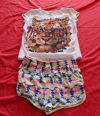 Girls size 12 TIGER  summer top tee  & coloured comfy  shorts Target