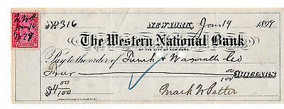 THE WESTERN NATIONAL BANK   of NEW YORK CITY 1899  WITH REVENUE