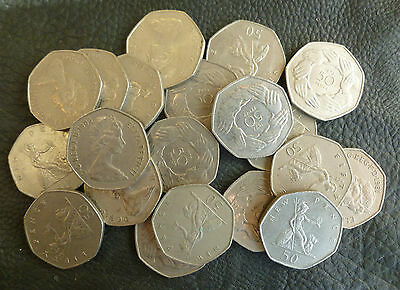 Bulk Lot Of 20 Clean Large Size 50p Coins ( Fifty Pences ) Issued 1969-1994