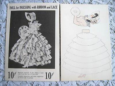 Original 1951 Ribbon & Lace Paper Doll Pattern~Unused~Org Envelope