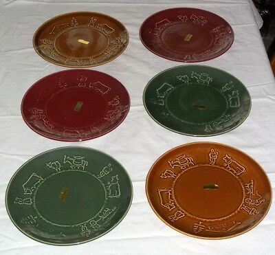 """Set 6 Vtg Donkey Cart Cow Country Switzerland 8"""" Plates Brown Green Red Pottery"""