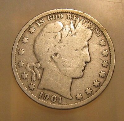 1901 S Barber Half Dollar - Very Good to Fine Condition - 85SA
