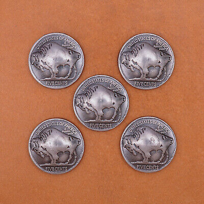 10pcs Western Indian Native American Bison Bull Buffalo Leathercraft Coin Concho