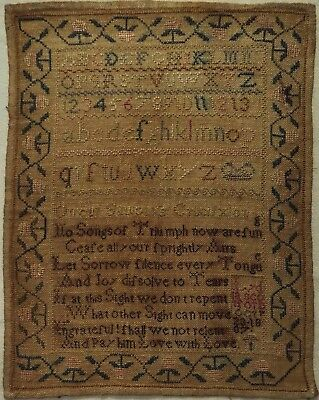 Small Early 19Th Century Verse & Alphabet Sampler By Lydia Scotford - 1807
