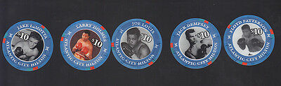 5 Atlantic City Hilton $10.00 Casino Boxing Chips