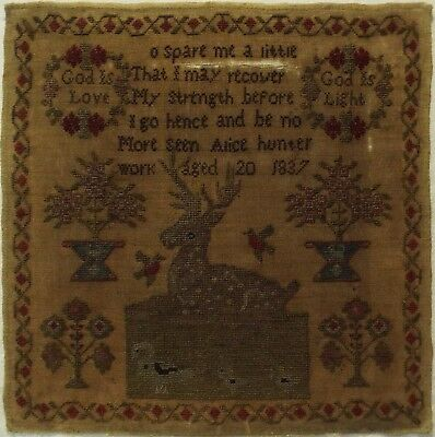 Early 19Th Century Recumbent Stag & Quotation Sampler By Alice Hunter - 1837