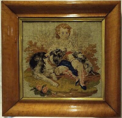 MID 19TH CENTURY NEEDLEPOINT OF A YOUNG BOY WITH HIS PET DOG & HER PUPPY c.1870