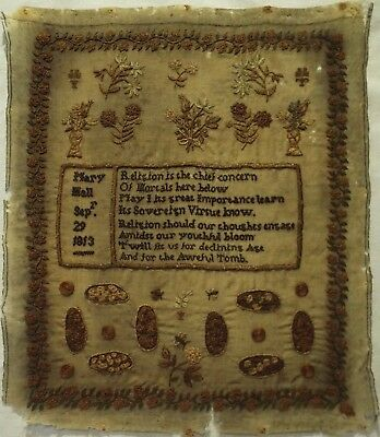 Early 19Th Century Verse & Floral Motif Sampler By Mary Hall - 1813