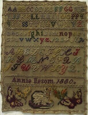 Late 19Th Century Cat, Butterflies & Alphabet Sampler By Annie Neesom - 1880