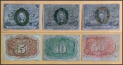 Three Fractional Currency Notes 5, 10 & 50