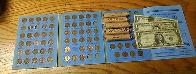 Wheat Cent collection and Three $1 Silver Certificates
