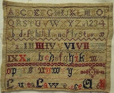 Small Late 19Th Century Alphabet Sampler By Louisa Lawrence - 1889