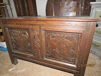 Rare 17th c. Carved Faces Blanket Chest Oak English Scottish Antique