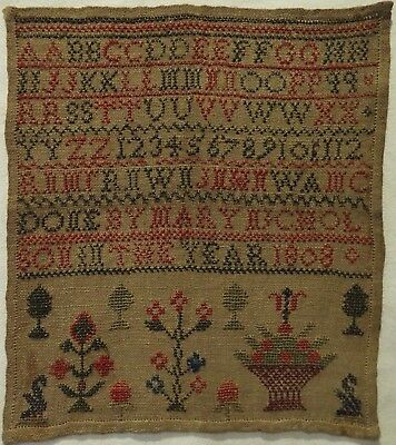 Small Early 19Th Century Motif & Alphabet Sampler By Mary Nicholson - 1808