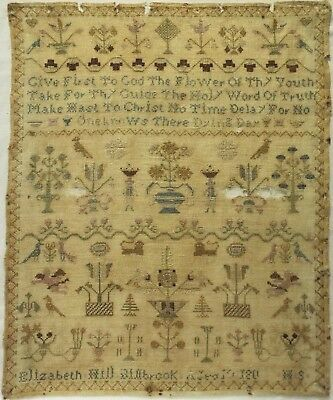 Early 19Th Century Motif, Figure & Verse Sampler By Elizabeth Hill Age 10 - 180*