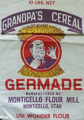 Germade Grandpa's Cereal Vintage Bag/Sack by Monticello Flour Mill Monticello,Ut