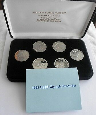 1992 USSR Russia Olympic Proof 6 Coin Set in Box w/ COA