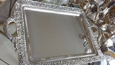 2500g MASTERWORK EMBOSSED TRAY PARADISE BIRDS DESIGN STERLING SILVER