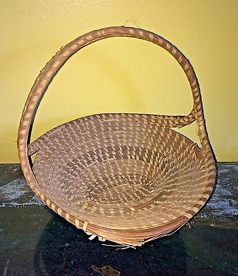 Vtg. Sweetgrass Basket Gullah As Is Handled Oval As Is Project Folk Art Bread