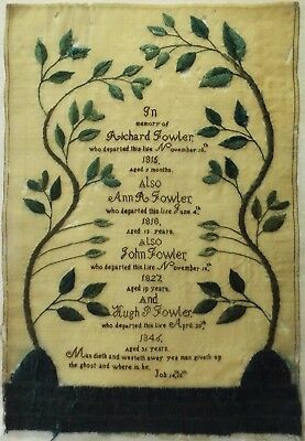 EARLY/MID 19TH CENTURY FOWLER FAMILY MEMORIAL SAMPLER - c.1846