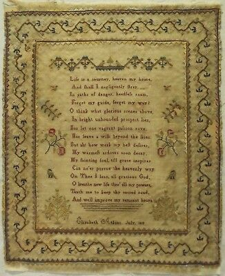 Early 19Th Century Verse & Motif Sampler By Elizabeth Atkins - July 1812