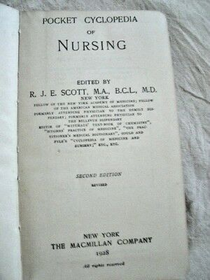 "1928 Book.  ""POCKET CYCLOPEDIA of NURSING""."