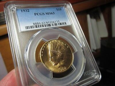 Ultra Nice Looking Gold Indian Head Eagle 1932 Pcgs  Ms-63   Full Of Luster !!