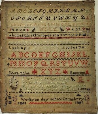 Late 19Th Century School Alphabet & Motif Sampler By Florence Emily Cross - 1883
