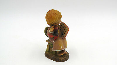 """Vintage ANRI Wood Carving Italy Girl with Bird and Book 2-1/2"""""""