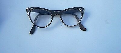 Vintage American Optical Cat Eye Eyeglasses RX 4-5 1/2 Taupe with White Stripe