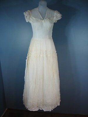 Spectacular 1920s Antique Sheer Wedding Dress Bridal Gown