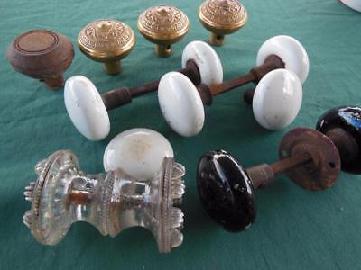 Lot Of 12 Antique Door Knobs Sets + Hardware Brass Glass Porcelain Remodel