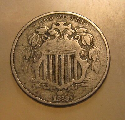 1868 Shield Nickel - NICE Circulated Condition - 93SA-2