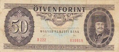 1989 Hungary 50 Forint Note, Pick 170h