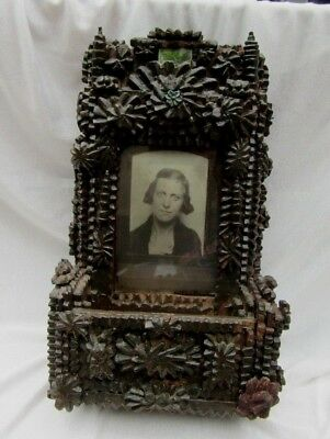 Fabulous Antique Tramp Art Frame with Planter or Holder Memorial Photo?