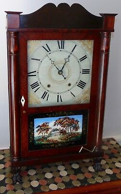 FABULOUS ANTIQUE AMERICAN Clock RILEY WHITING Winchester CT Wooden Works