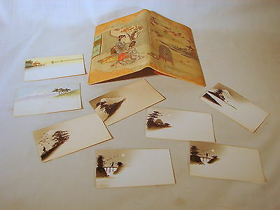 Old Oriental Scene Hand Decorated Leather Business Card Holder, Ex to VG Condtn.