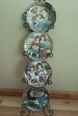 """Sisters Are Blossoms""  Chantal Poulin 'Kindred Moments' Plate LOT OF 4 W/Rack"