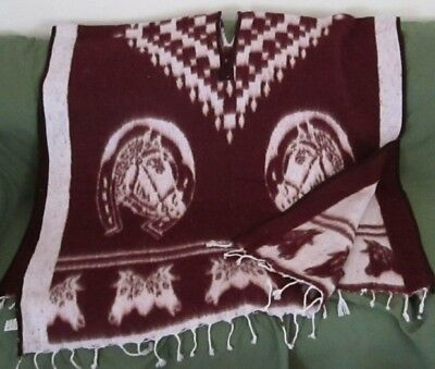 "Western Poncho Reversable With Horse Designs 41"" X 82"" Maroon"