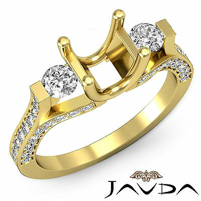 Genuine Round Diamond Three Stone Engagement Ring 14k Yellow Gold Semi Mount 1Ct