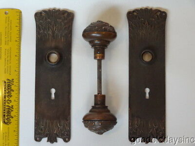 "Antique Bronze Door Knob & Back Plate Set ""Florence"" Pattern with Ornate Knobs"