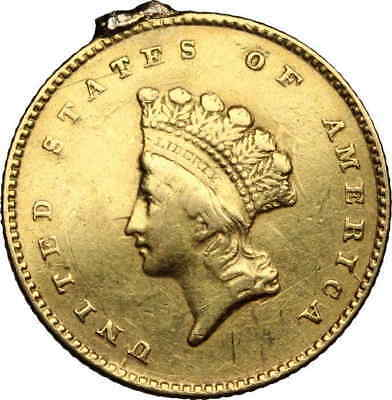 United States, Gold Dollar $1, Type 1, 1855, Details, Strong die clash on rev!