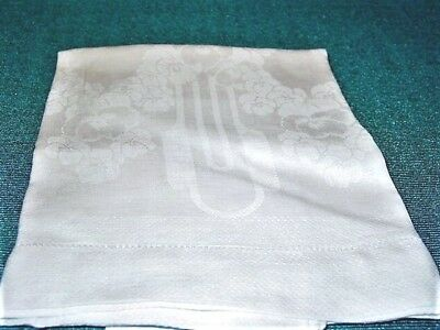 "Vtg.LinenTowel DamaskHuck Linen 21x40""White,Pansy Flowers,1 1/2""Hemstitch ExCond"