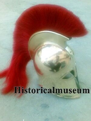 "GREEK SPARTAN ARMOR HELMET w RED PLUME HM98 GREEK CORINTHIAN HELMET"".."